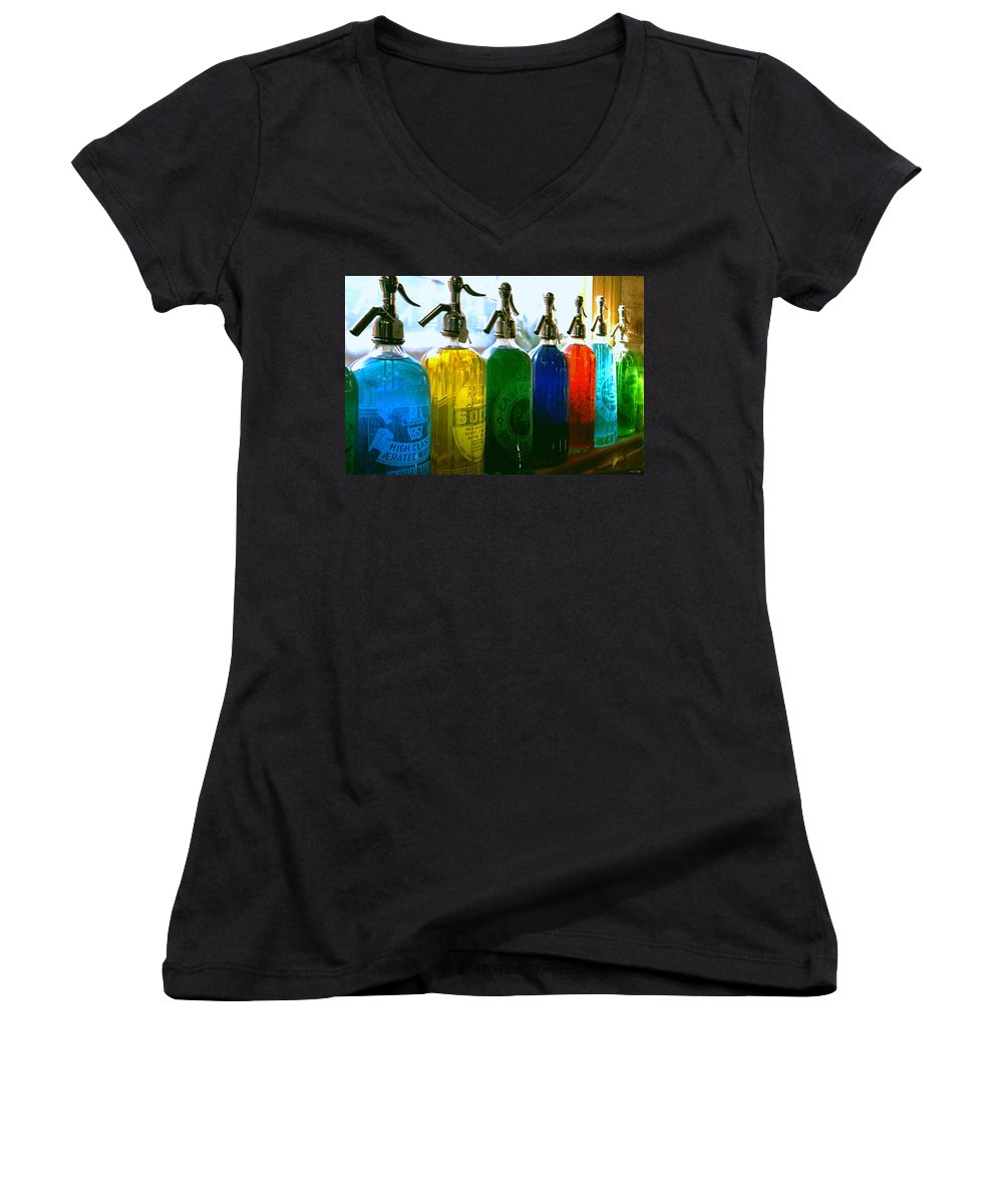 Food And Beverage Women's V-Neck T-Shirt featuring the photograph Pour Me A Rainbow by Holly Kempe