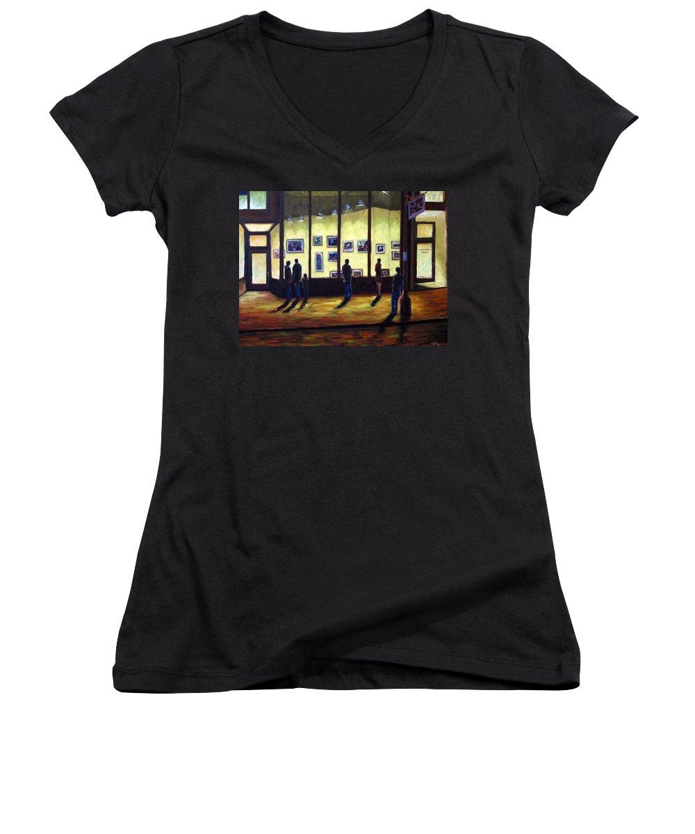 Urban Women's V-Neck T-Shirt featuring the painting Pranke by Richard T Pranke