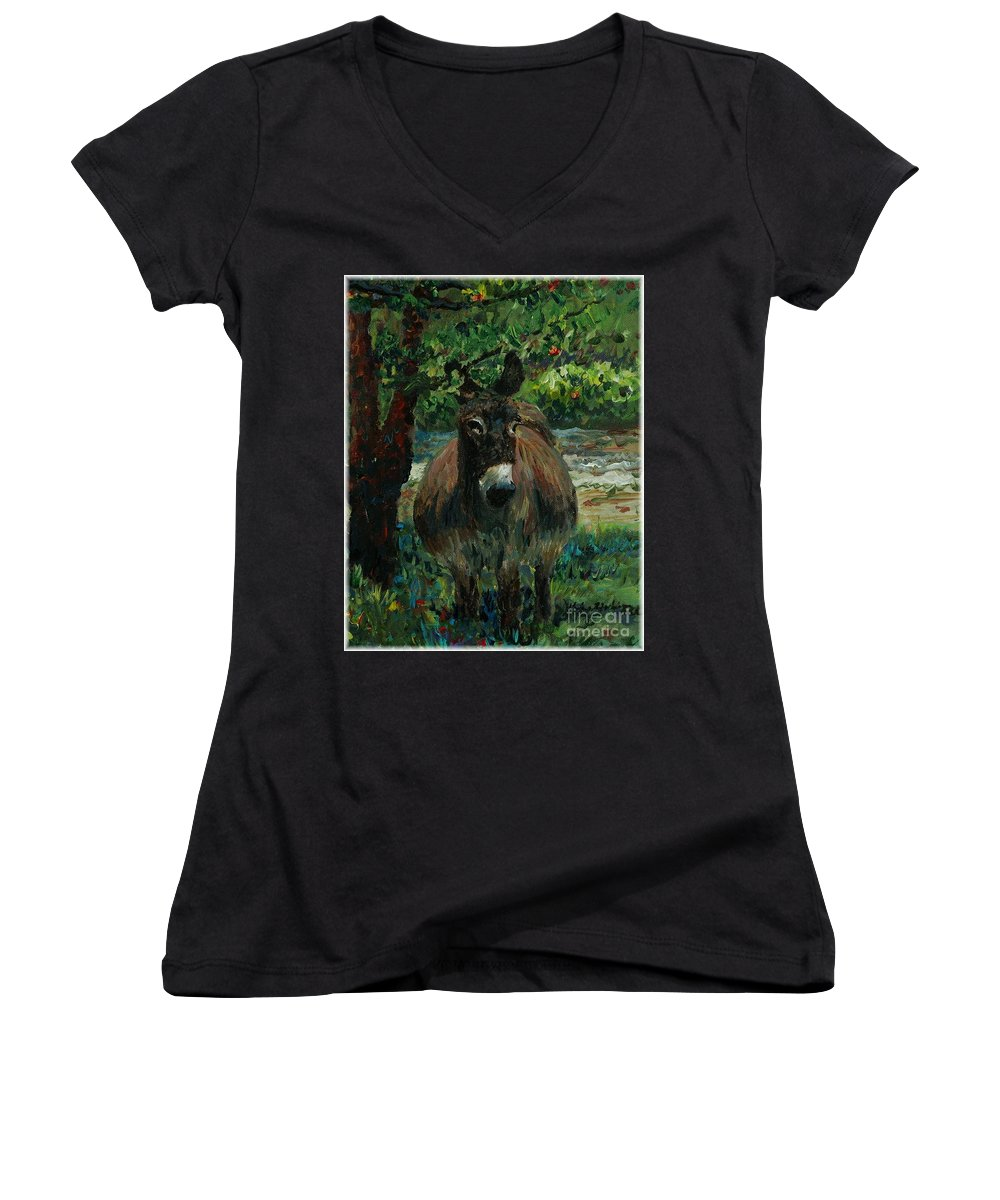 Donkey Women's V-Neck T-Shirt featuring the painting Provence Donkey by Nadine Rippelmeyer