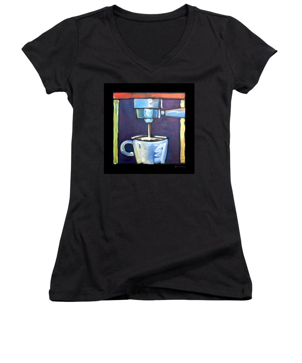 Coffee Women's V-Neck T-Shirt featuring the painting Pulling A Shot by Tim Nyberg
