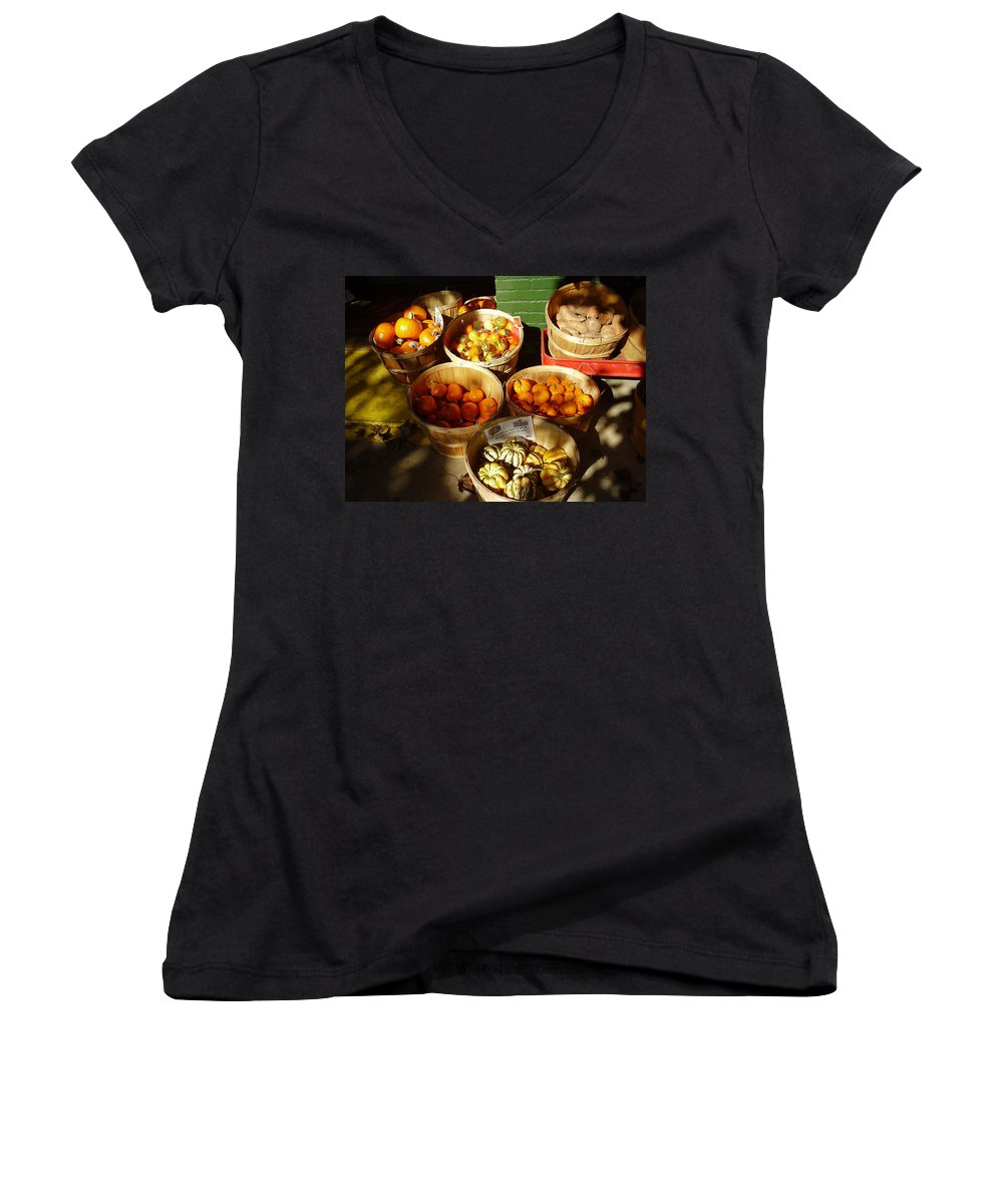 Pumpkins Women's V-Neck (Athletic Fit) featuring the photograph Pumpkins by Flavia Westerwelle