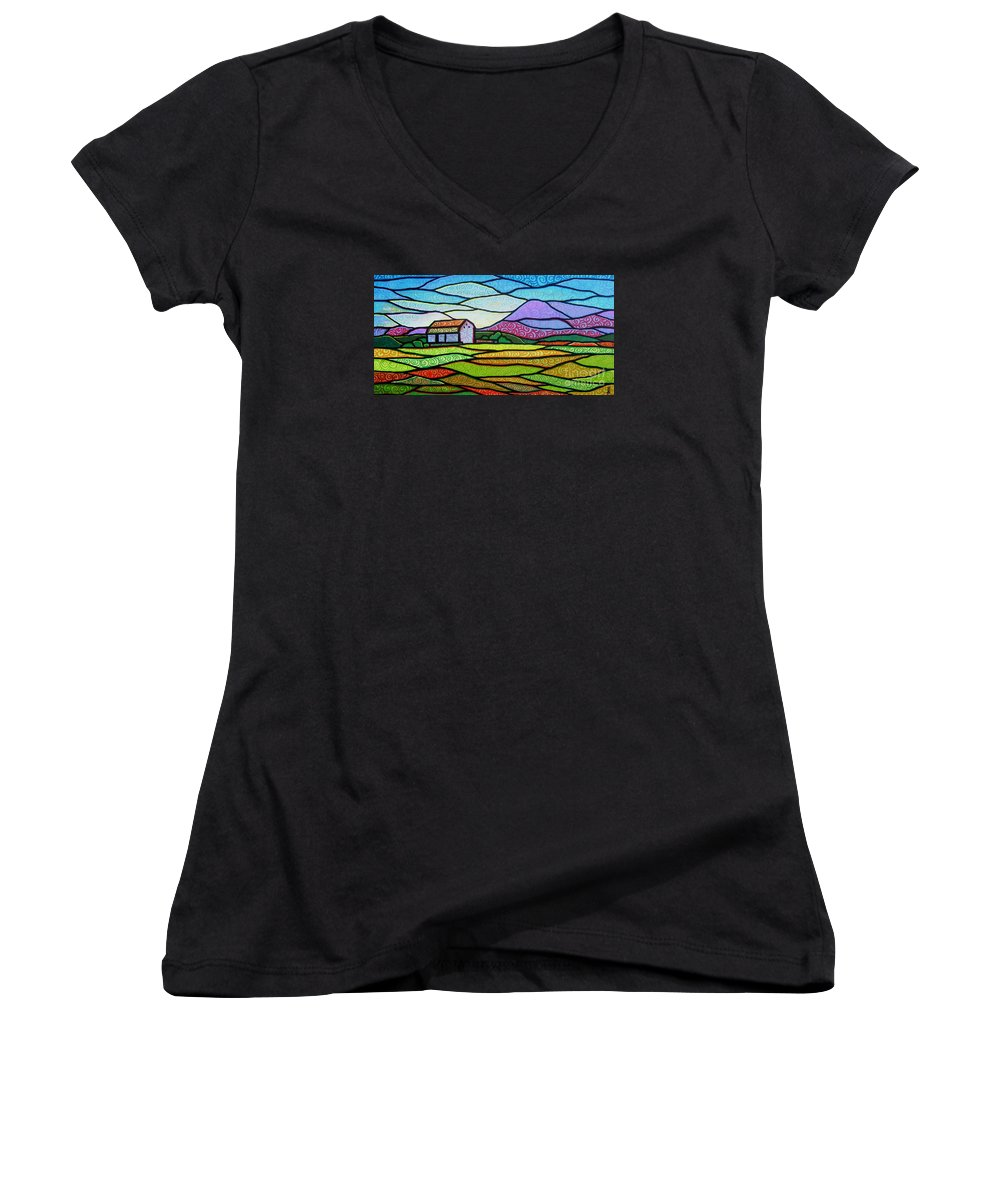Mountains Women's V-Neck T-Shirt featuring the painting Purple Mountain Majesty by Jim Harris