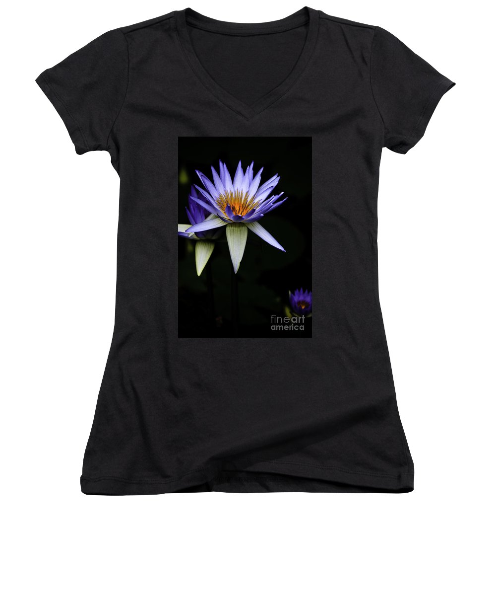 Purple Waterlily Water Lily Flower Flora Women's V-Neck T-Shirt featuring the photograph Purple Waterlily by Sheila Smart Fine Art Photography