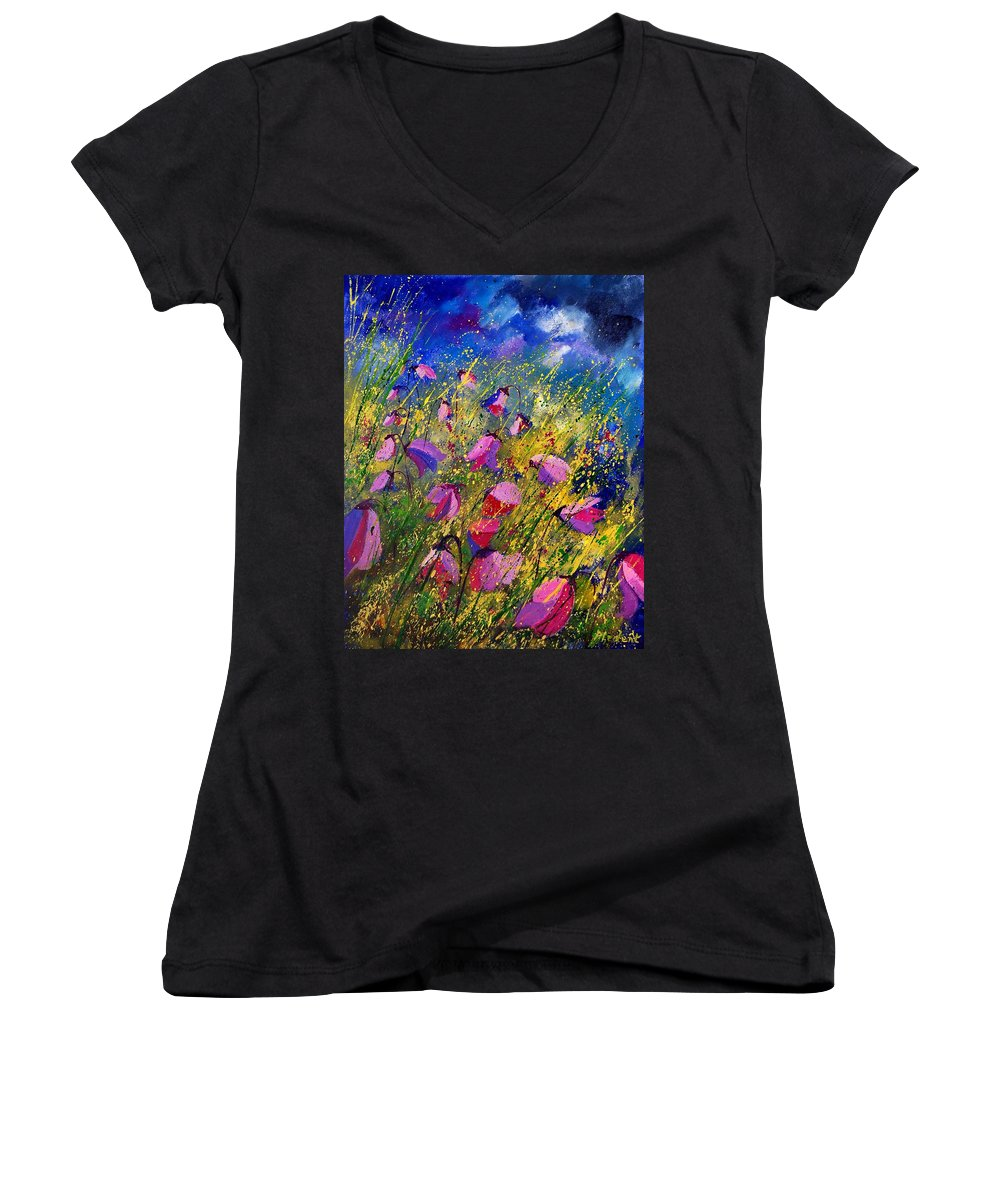 Poppies Women's V-Neck (Athletic Fit) featuring the painting Purple Wild Flowers by Pol Ledent