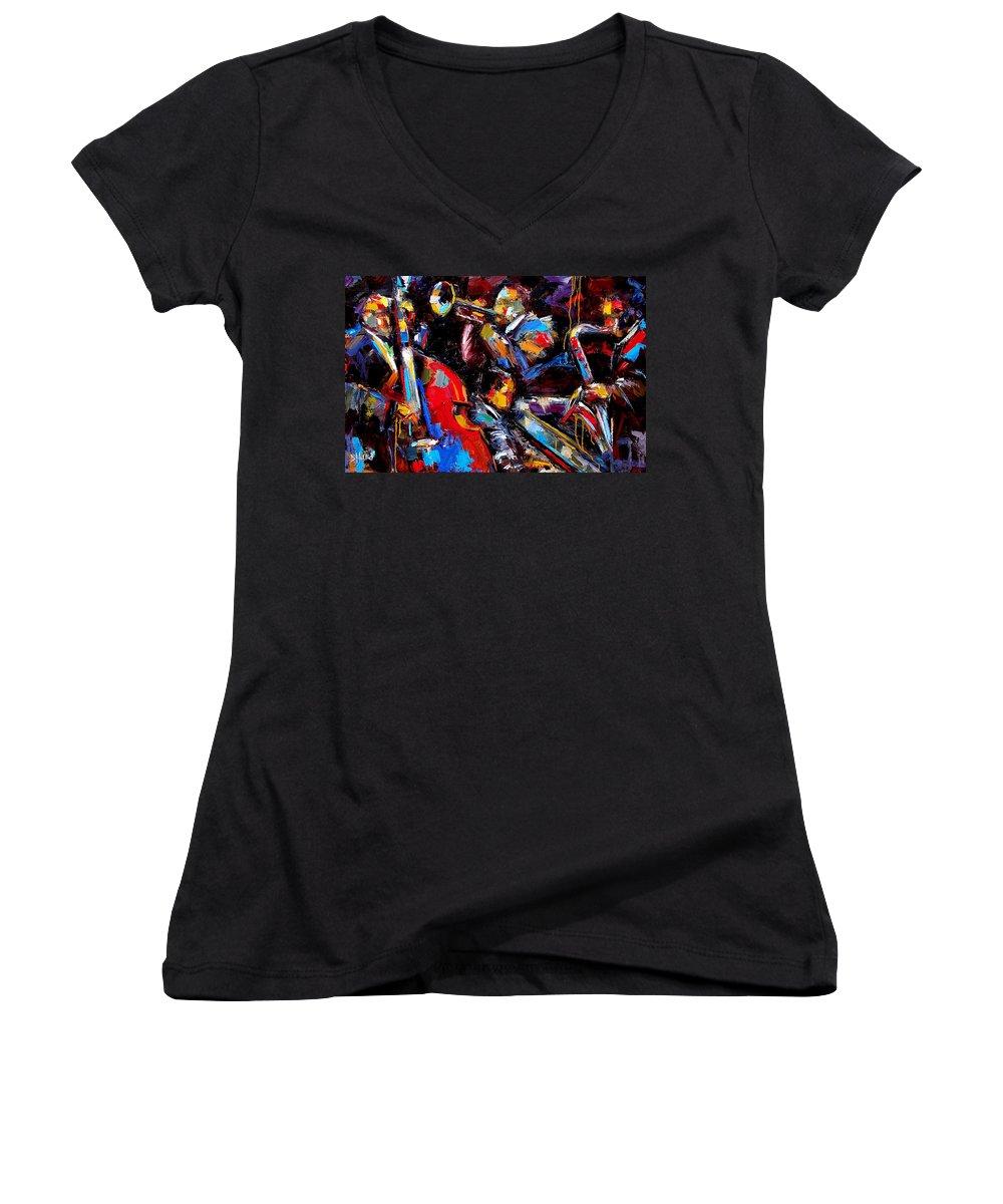 Jazz Paintings Women's V-Neck T-Shirt featuring the painting Quartet by Debra Hurd