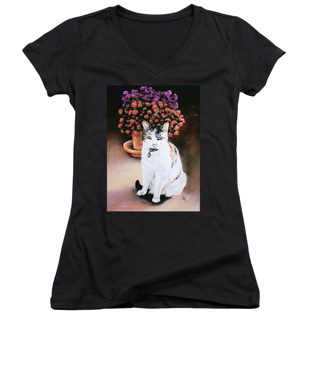 Cat Women's V-Neck (Athletic Fit) featuring the pastel Queen Marishka by Gale Cochran-Smith