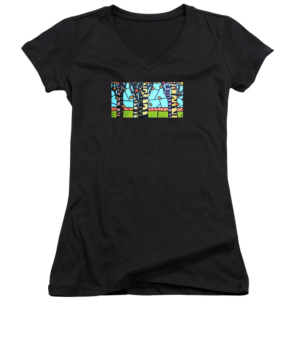 Birch Trees Women's V-Neck T-Shirt featuring the painting Quilted Birch Garden by Jim Harris