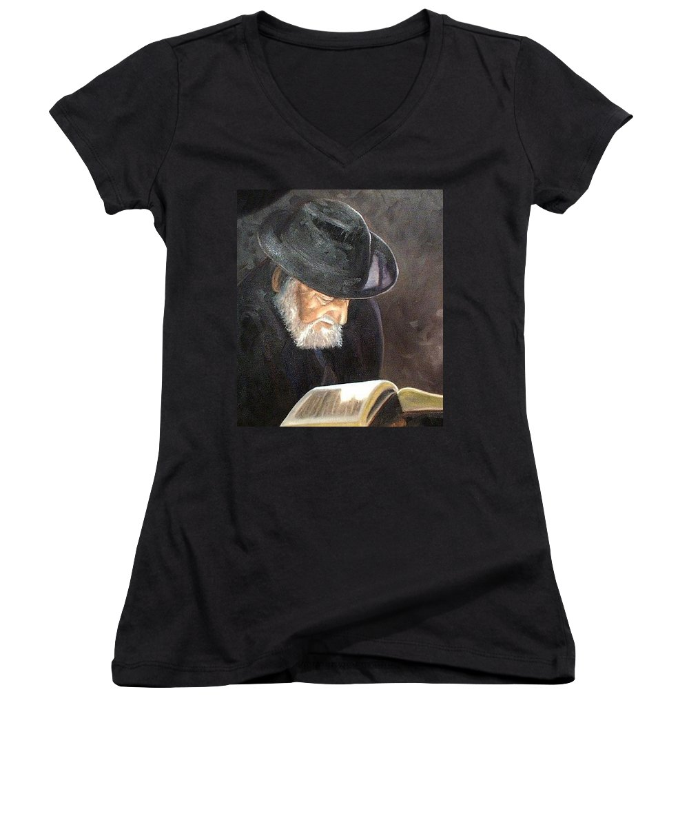 Portrait Women's V-Neck T-Shirt featuring the painting Rabbi by Toni Berry