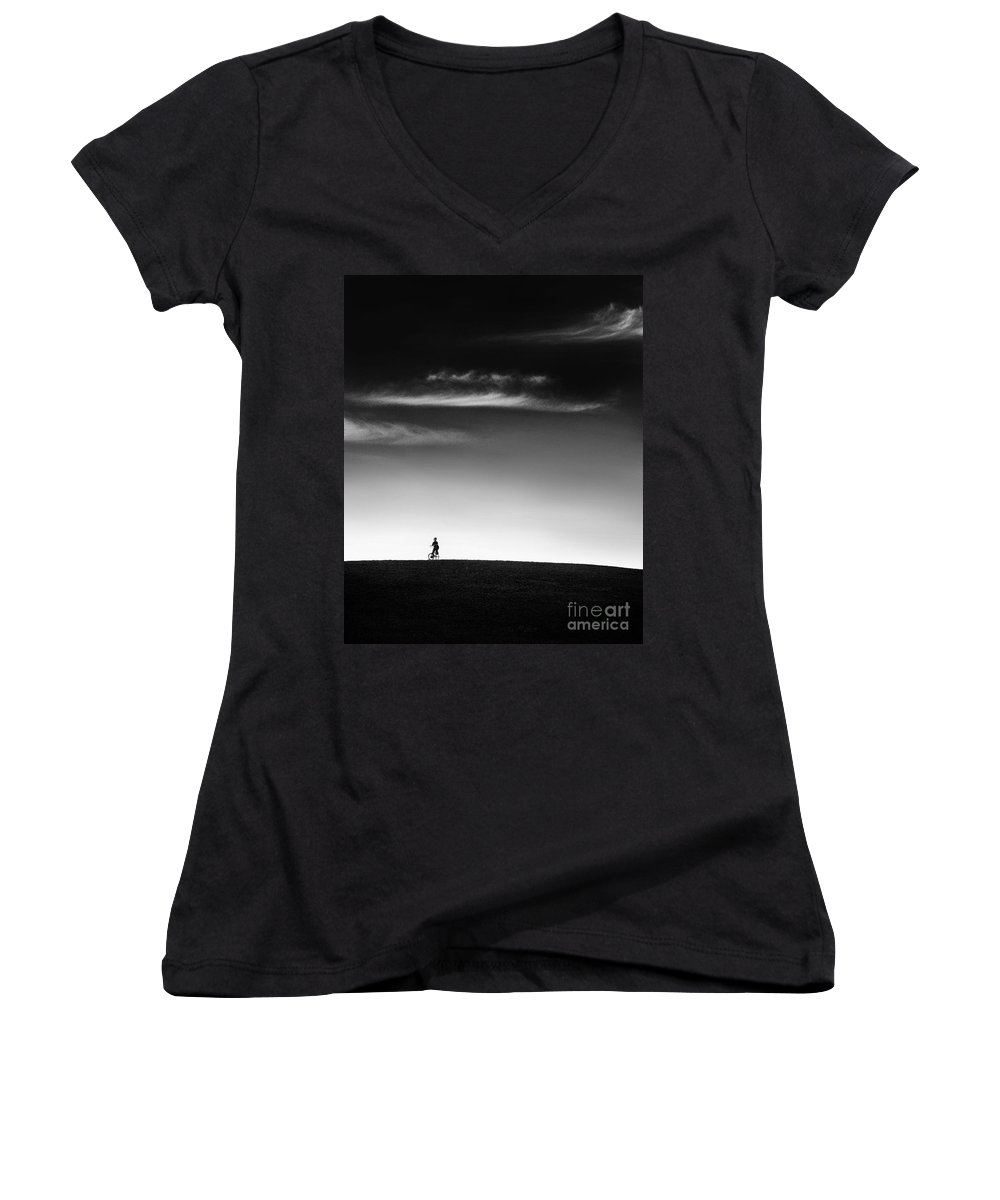 Boy Women's V-Neck (Athletic Fit) featuring the photograph Racing The Wind by Dana DiPasquale