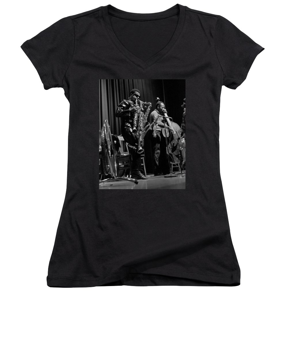 Rahsaan Roland Kirk Women's V-Neck (Athletic Fit) featuring the photograph Rahsaan Roland Kirk 1 by Lee Santa