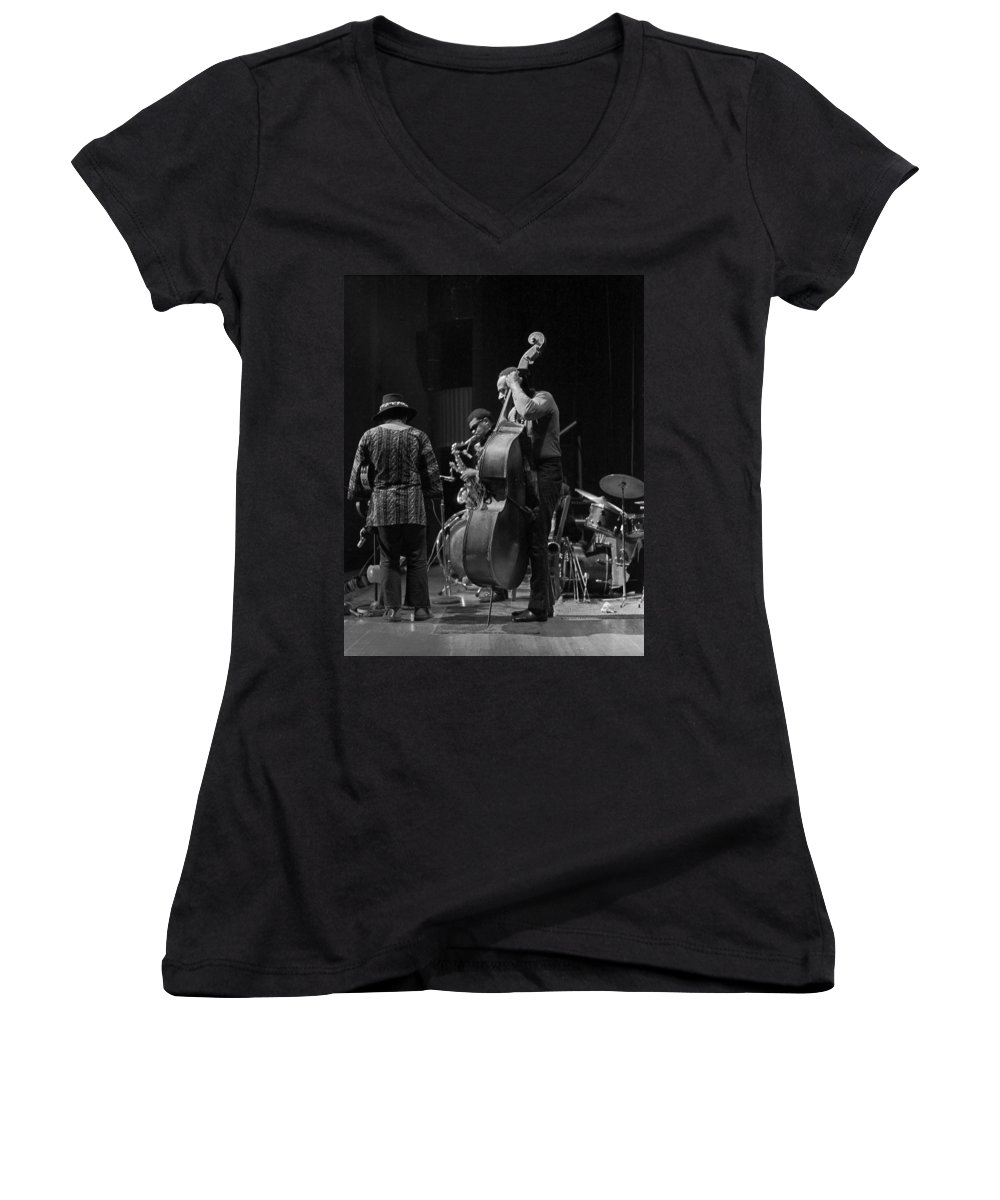 Rahsaan Roland Kirk Women's V-Neck T-Shirt featuring the photograph Rahsaan Roland Kirk 2 by Lee Santa