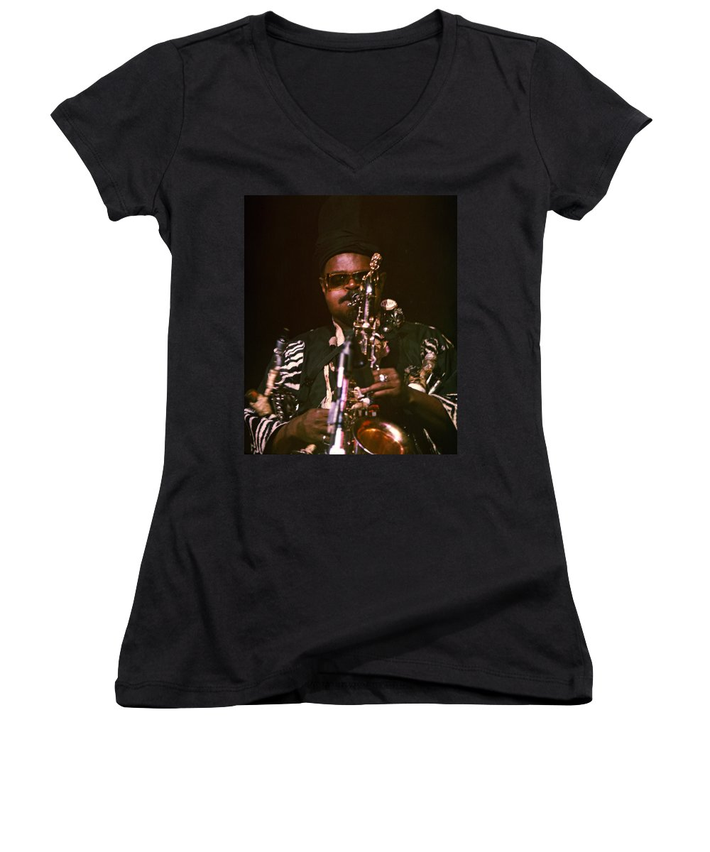 Rahsaan Roland Kirk Women's V-Neck T-Shirt featuring the photograph Rahsaan Roland Kirk 3 by Lee Santa