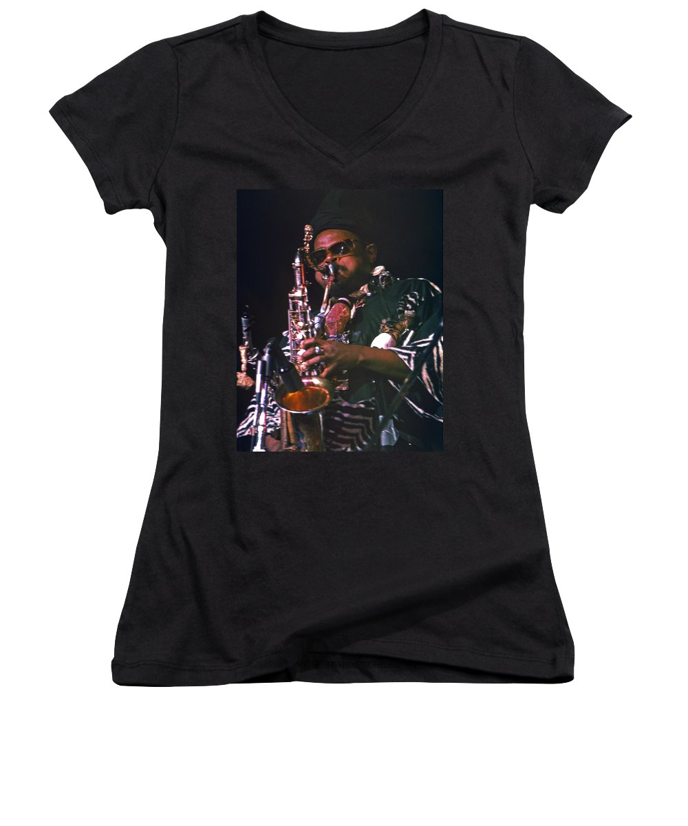Rahsaan Roland Kirk Women's V-Neck (Athletic Fit) featuring the photograph Rahsaan Roland Kirk 4 by Lee Santa