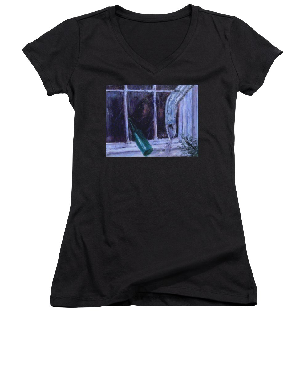 Original Women's V-Neck T-Shirt featuring the painting Rainy Day by Stephen King