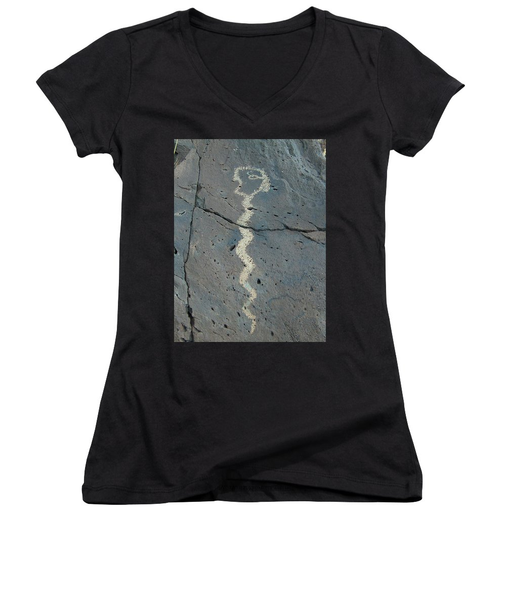 Rattlesnake Women's V-Neck (Athletic Fit) featuring the photograph Rattlesnake Petroglyph 2 by Tim McCarthy