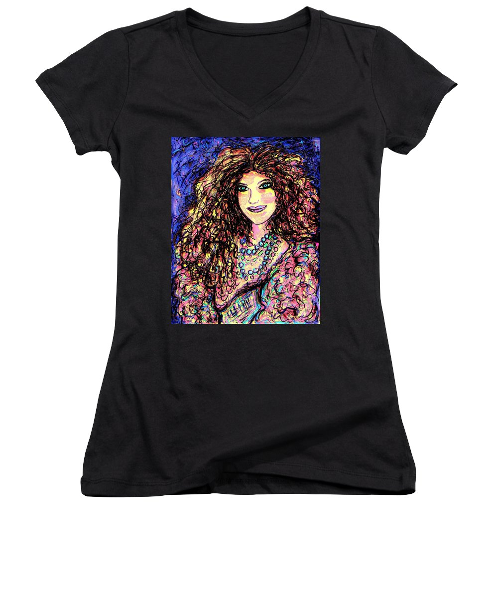 Woman Women's V-Neck T-Shirt featuring the painting Ravishing Beauty by Natalie Holland
