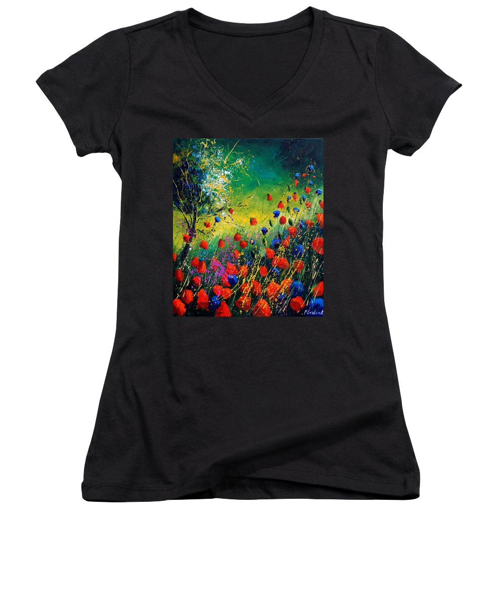 Flowers Women's V-Neck T-Shirt featuring the painting Red And Blue Poppies by Pol Ledent