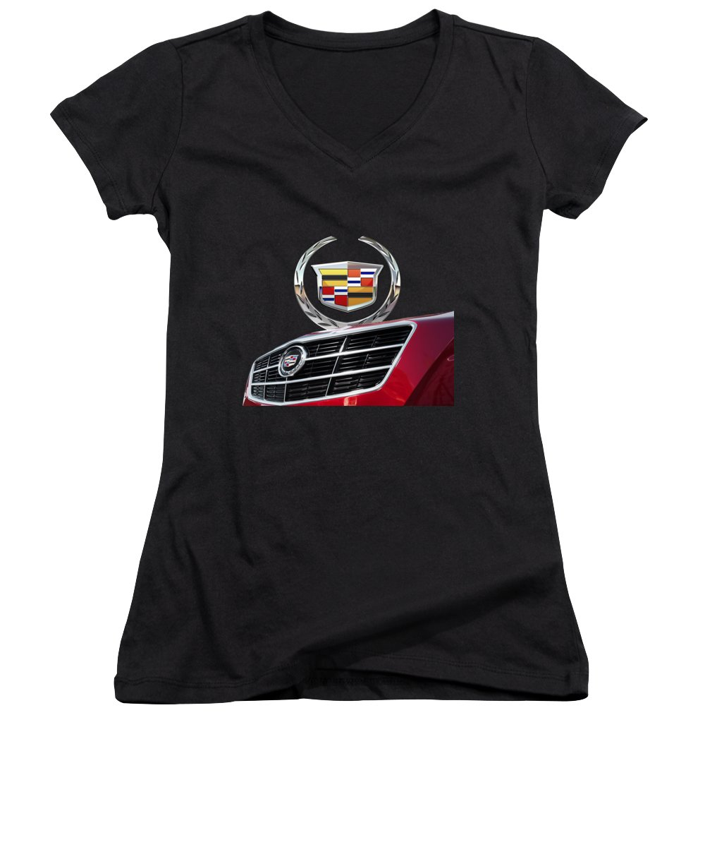 'auto Badges' By Serge Averbukh Women's V-Neck featuring the photograph Red Cadillac C T S - Front Grill Ornament And 3d Badge On Black by Serge Averbukh