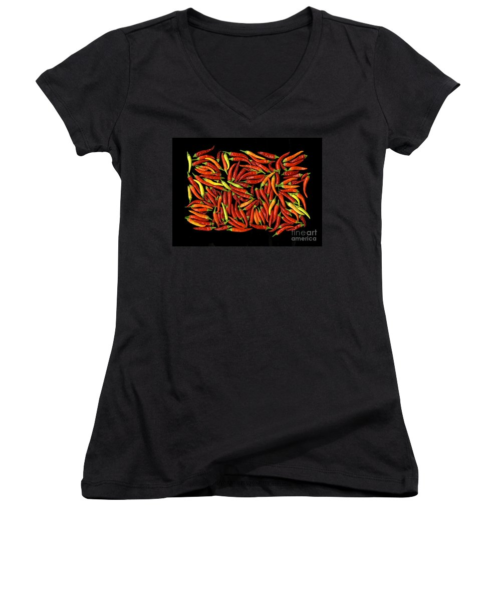 Color Women's V-Neck T-Shirt featuring the photograph Red Hots by Christian Slanec