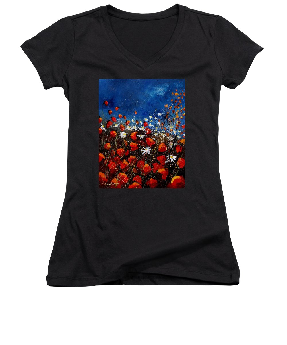 Flowers Women's V-Neck T-Shirt featuring the painting Red Poppies 451108 by Pol Ledent