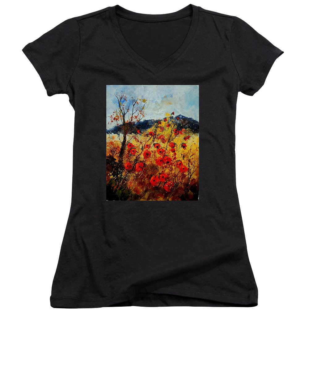 Poppies Women's V-Neck T-Shirt featuring the painting Red Poppies In Provence by Pol Ledent