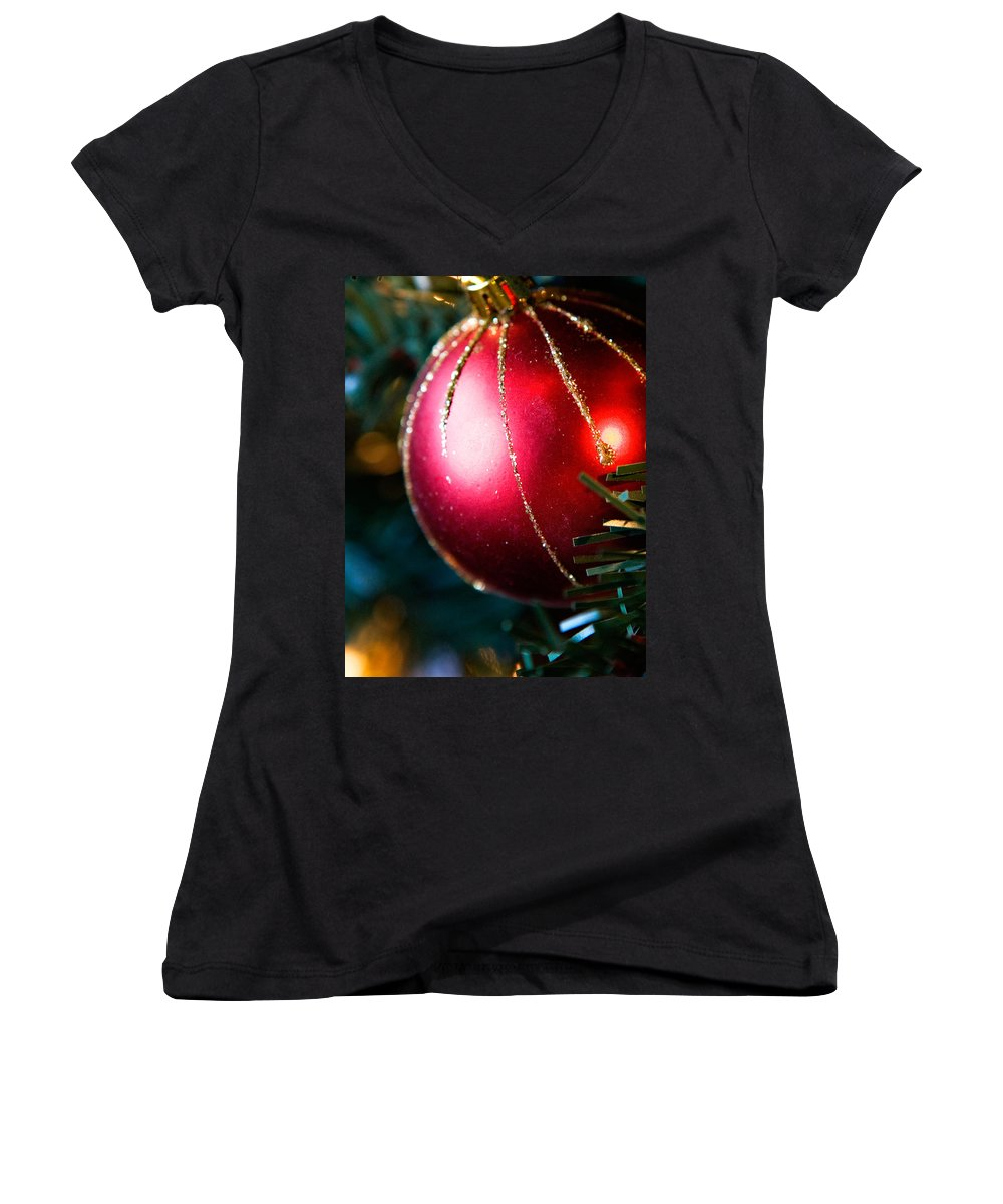 Red Women's V-Neck (Athletic Fit) featuring the photograph Red Shiny Ornament by Marilyn Hunt
