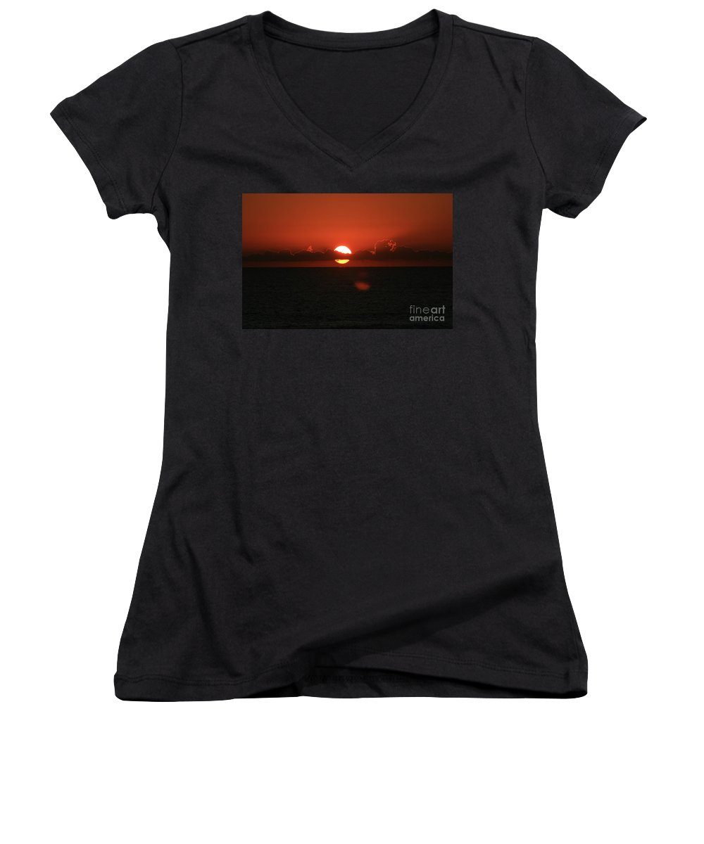 Sunset Women's V-Neck T-Shirt featuring the photograph Red Sunset Over The Atlantic by Nadine Rippelmeyer