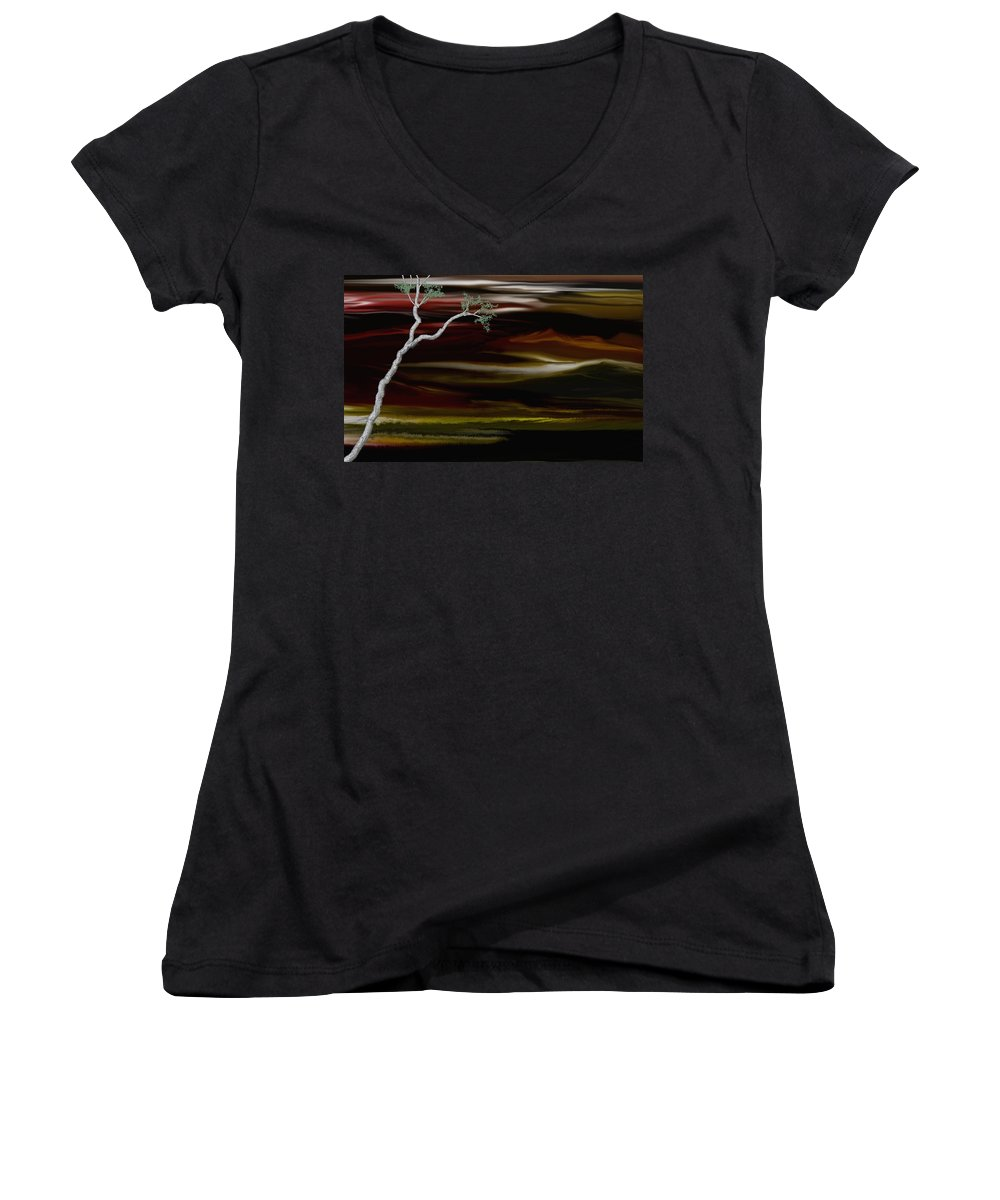 Digital Landscape Women's V-Neck T-Shirt featuring the digital art Redscape by David Lane