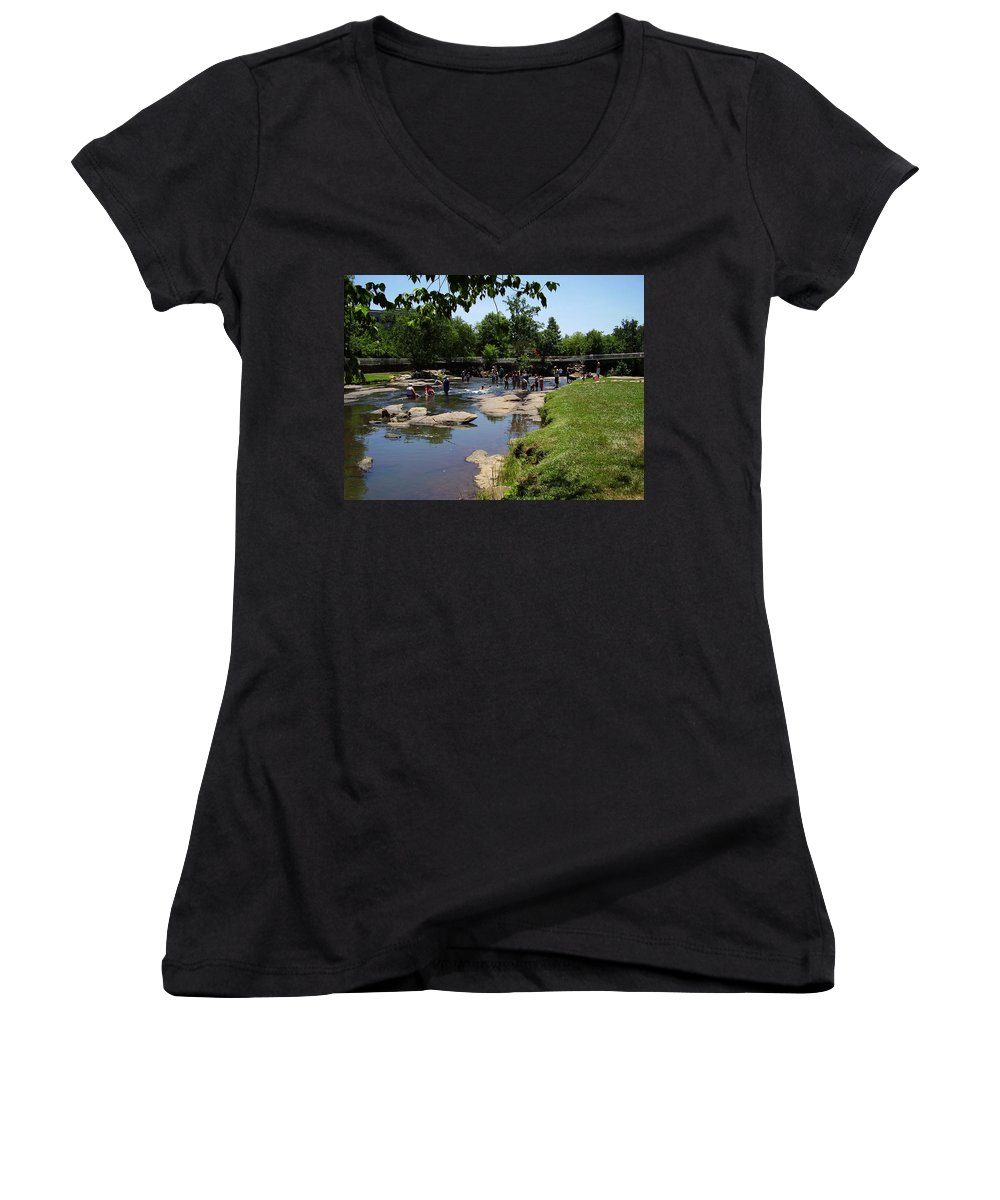 Reedy River Women's V-Neck T-Shirt featuring the photograph Reedy River by Flavia Westerwelle