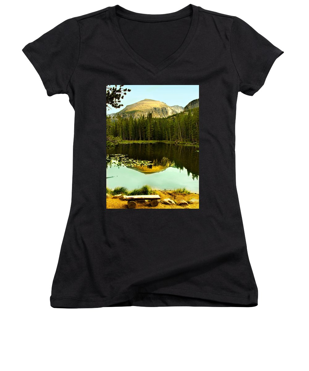 Reflection Women's V-Neck T-Shirt featuring the photograph Reflection by Marilyn Hunt