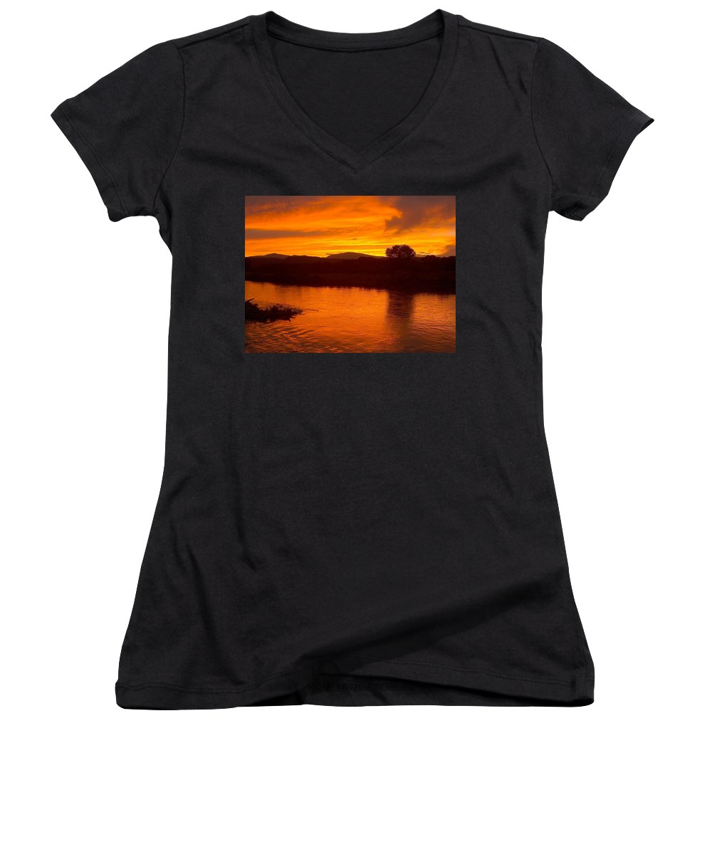 Sunset Women's V-Neck (Athletic Fit) featuring the photograph Rio Grande Sunset by Tim McCarthy