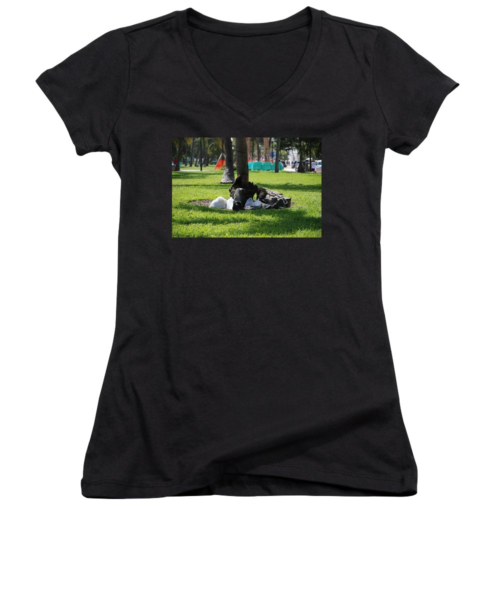 Urban Women's V-Neck (Athletic Fit) featuring the photograph Rip Van Winkle by Rob Hans