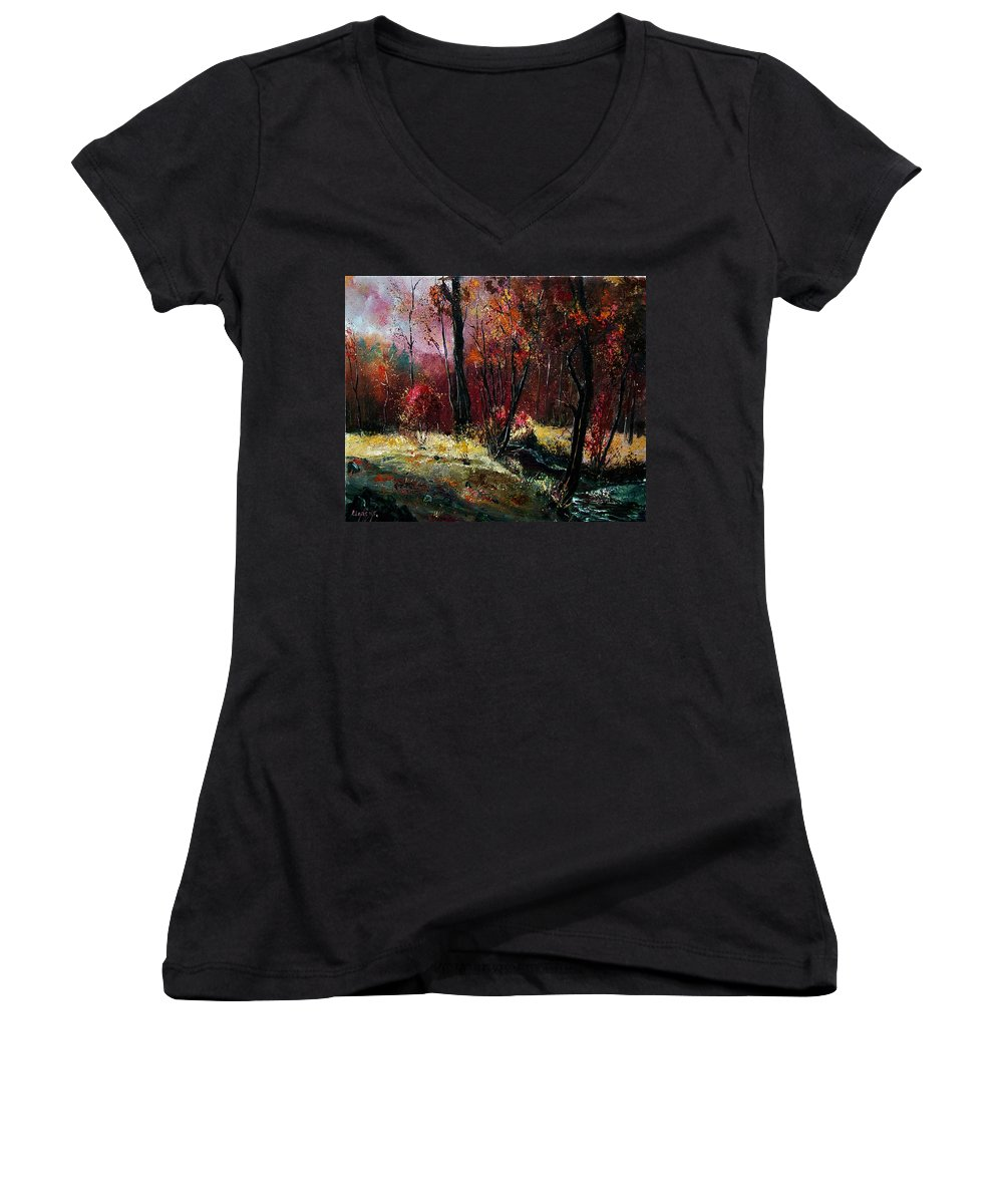 River Women's V-Neck T-Shirt featuring the painting River Ywoigne by Pol Ledent