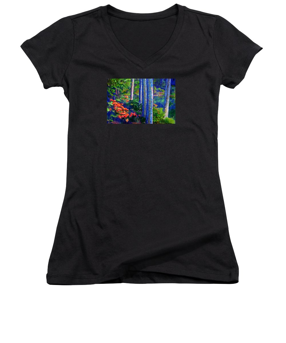 River Women's V-Neck T-Shirt featuring the painting Rivers Edge by Michael Durst