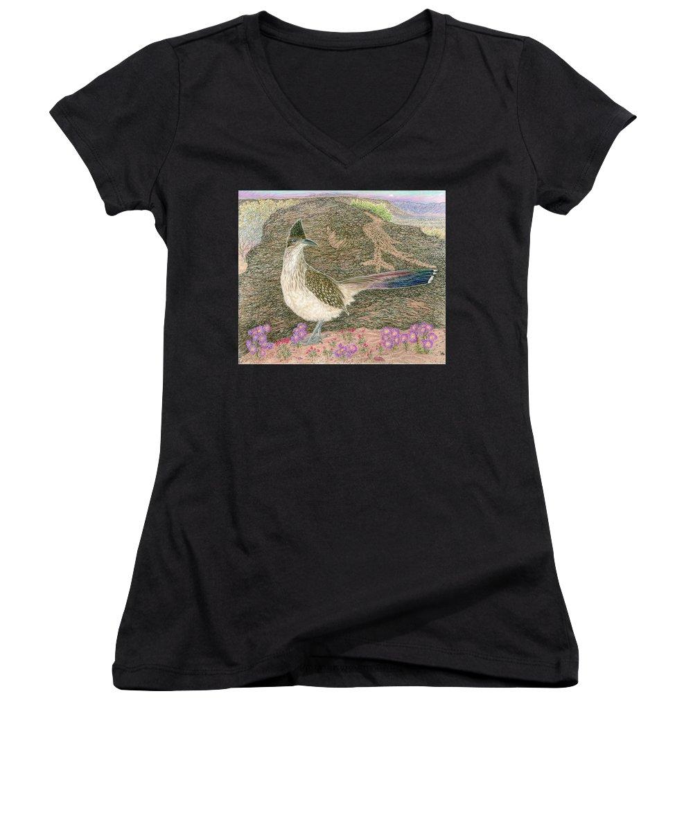 Roadrunner Women's V-Neck T-Shirt featuring the drawing Roadrunner by Tim McCarthy