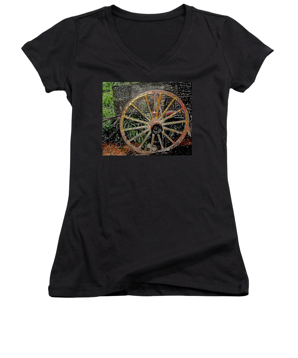 Wagon Wheel Women's V-Neck (Athletic Fit) featuring the photograph Rolling No More by Wayne Potrafka