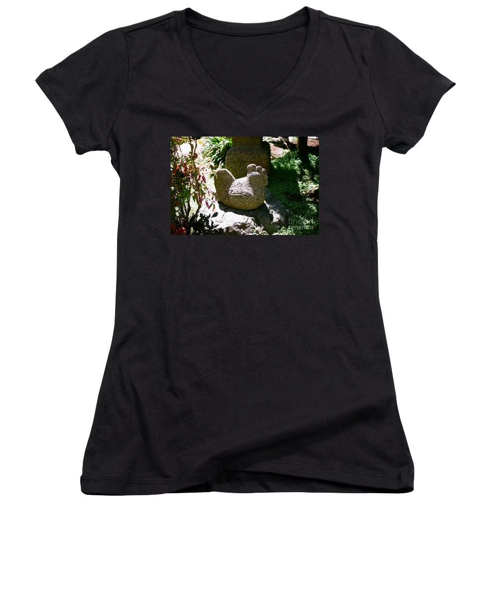 Stone Women's V-Neck (Athletic Fit) featuring the photograph Rooster by Dean Triolo