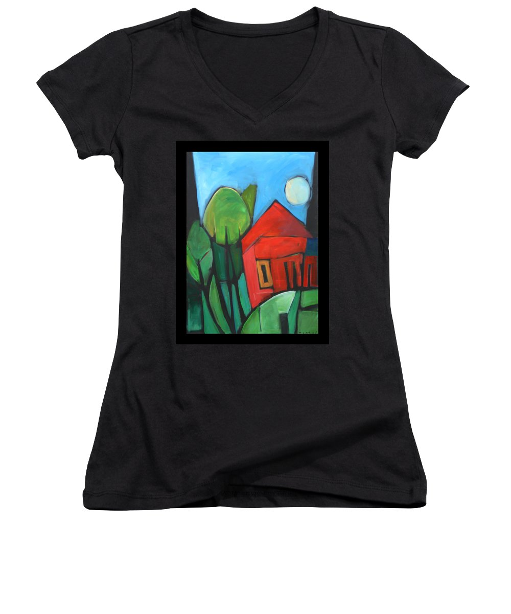 Trees Women's V-Neck (Athletic Fit) featuring the painting Root Cellar by Tim Nyberg