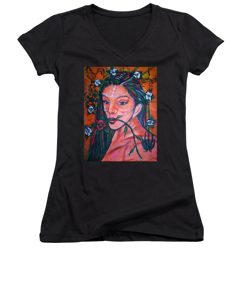 Latina Women's V-Neck T-Shirt featuring the painting Rosales Latina by Americo Salazar