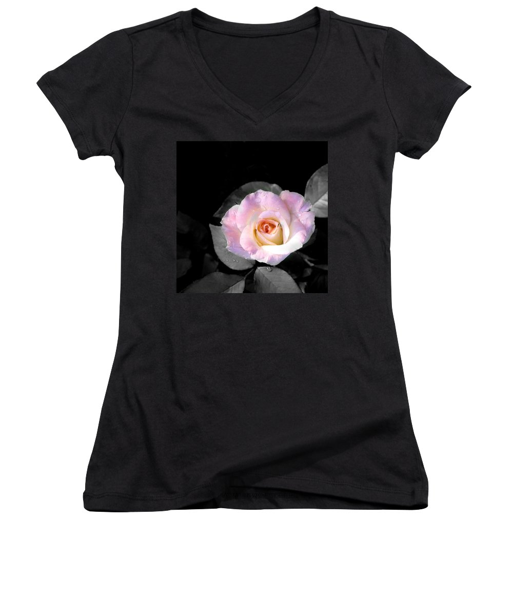 Princess Diana Rose Women's V-Neck (Athletic Fit) featuring the photograph Rose Emergance by Steve Karol
