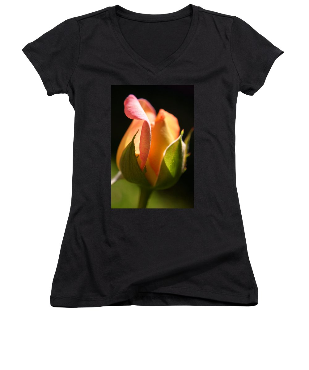 Rosebud Women's V-Neck (Athletic Fit) featuring the photograph Rosebud by Ralph A Ledergerber-Photography