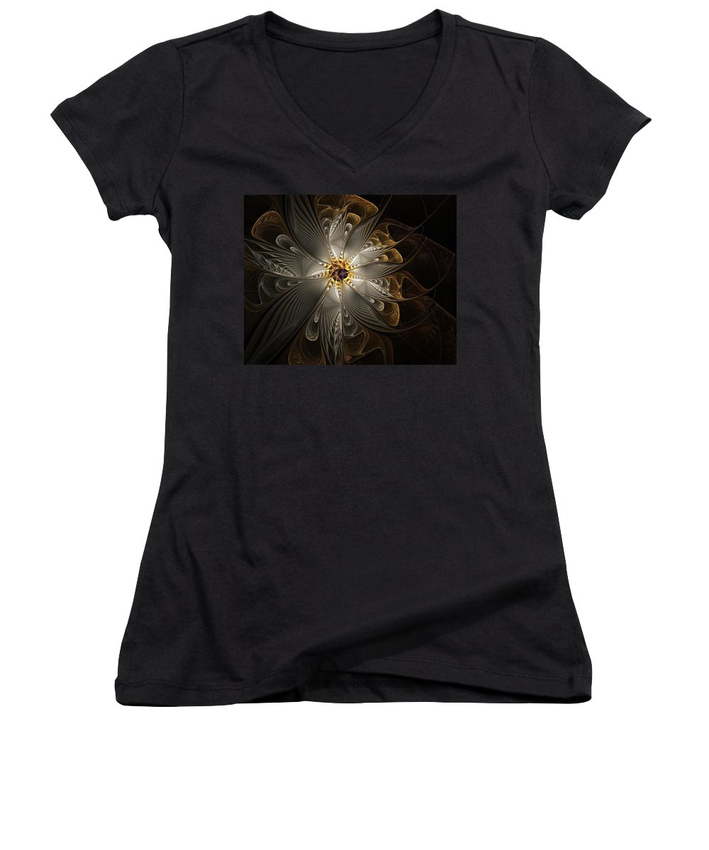 Digital Art Women's V-Neck T-Shirt featuring the digital art Rosette In Gold And Silver by Amanda Moore