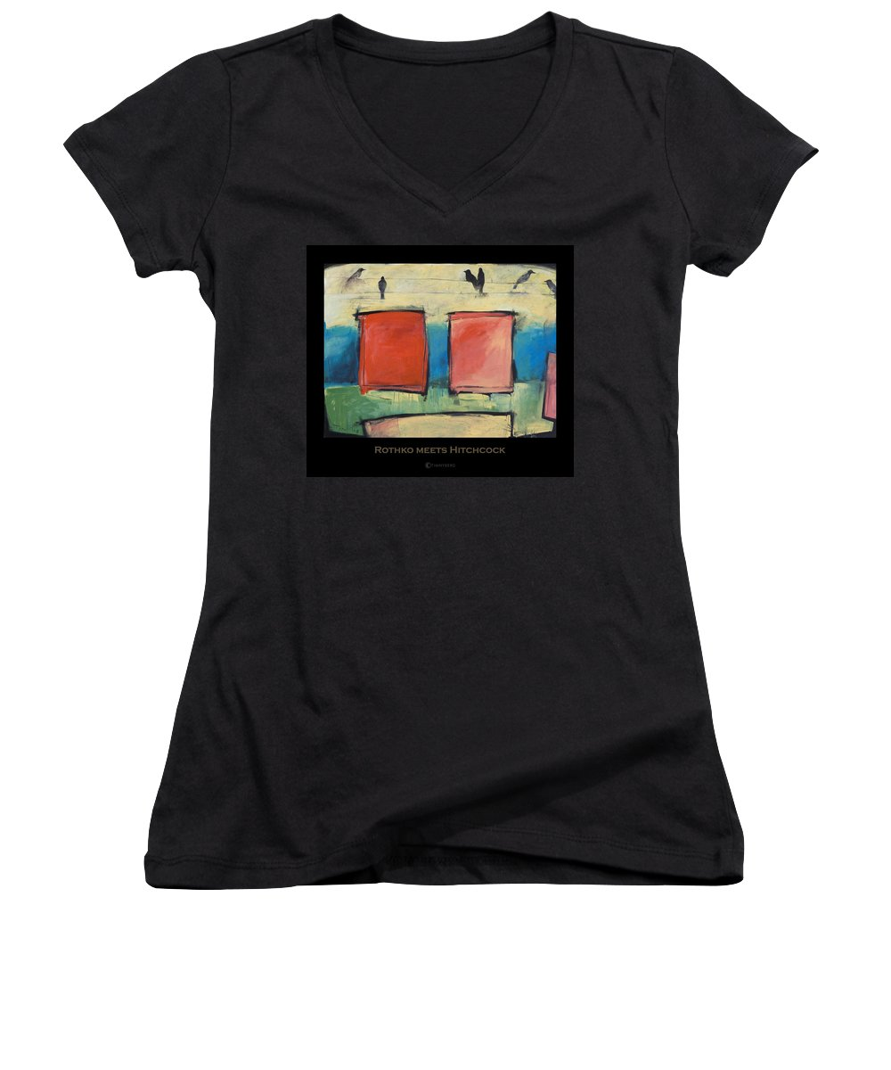 Rothko Women's V-Neck T-Shirt featuring the painting Rothko Meets Hitchcock - Poster by Tim Nyberg