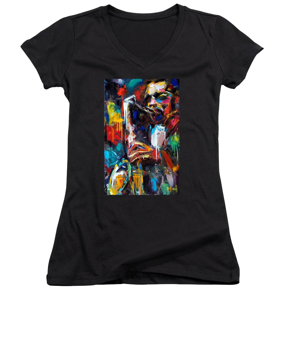 Painting Women's V-Neck T-Shirt featuring the painting Round Midnight by Debra Hurd