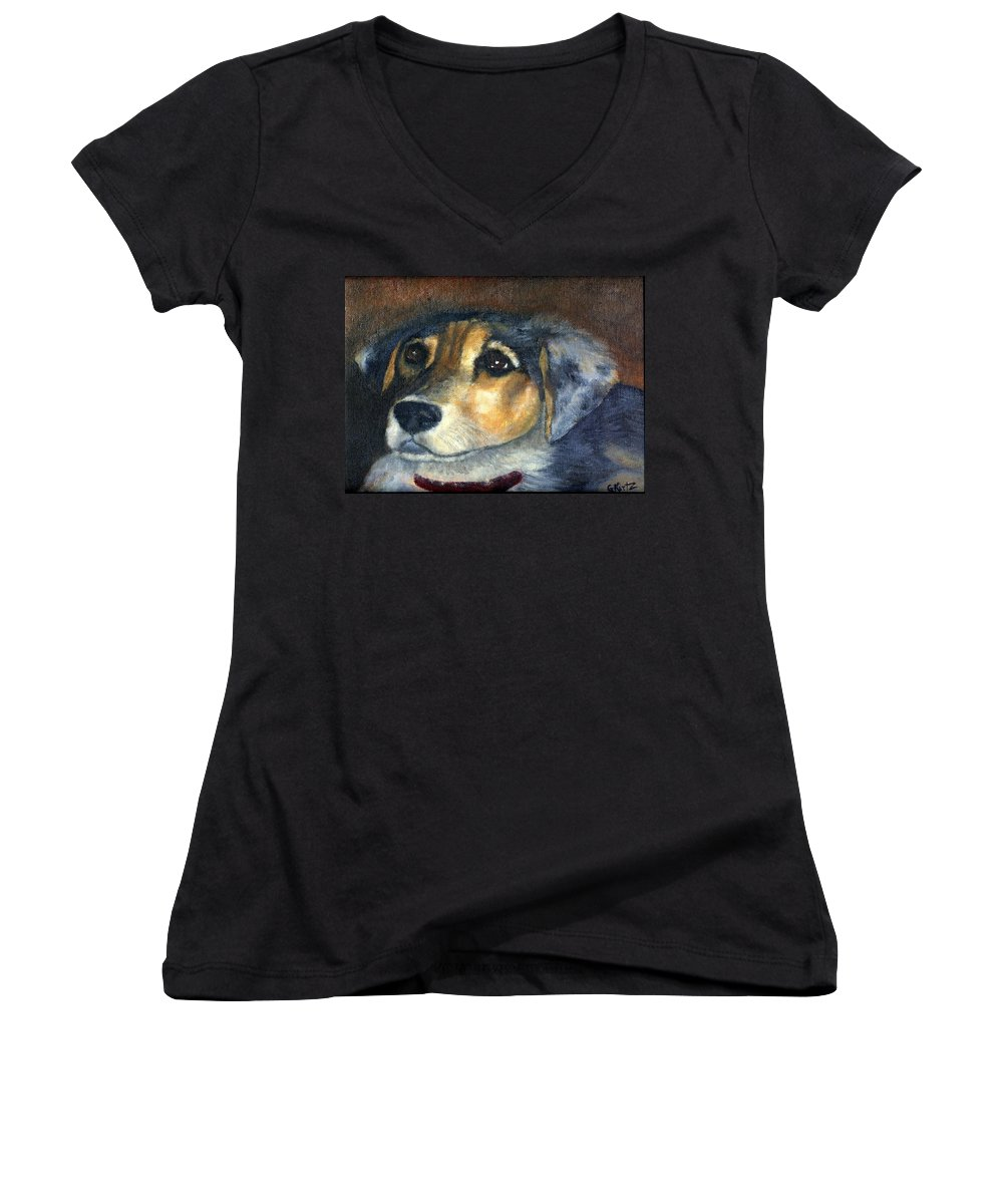 Dog Women's V-Neck T-Shirt featuring the painting Roxie by Gail Kirtz