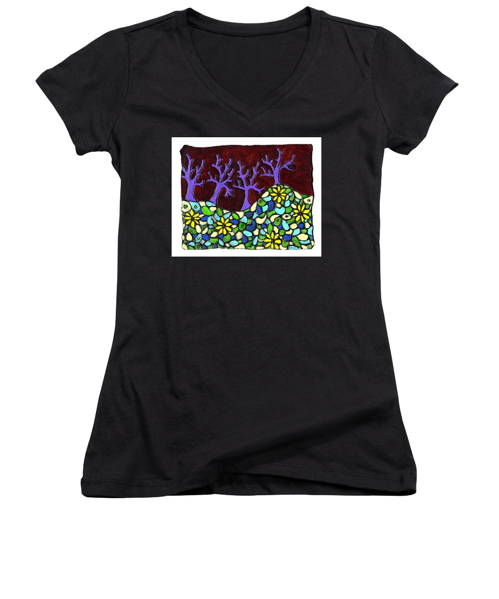 Trees Women's V-Neck (Athletic Fit) featuring the painting Royal Forest by Wayne Potrafka