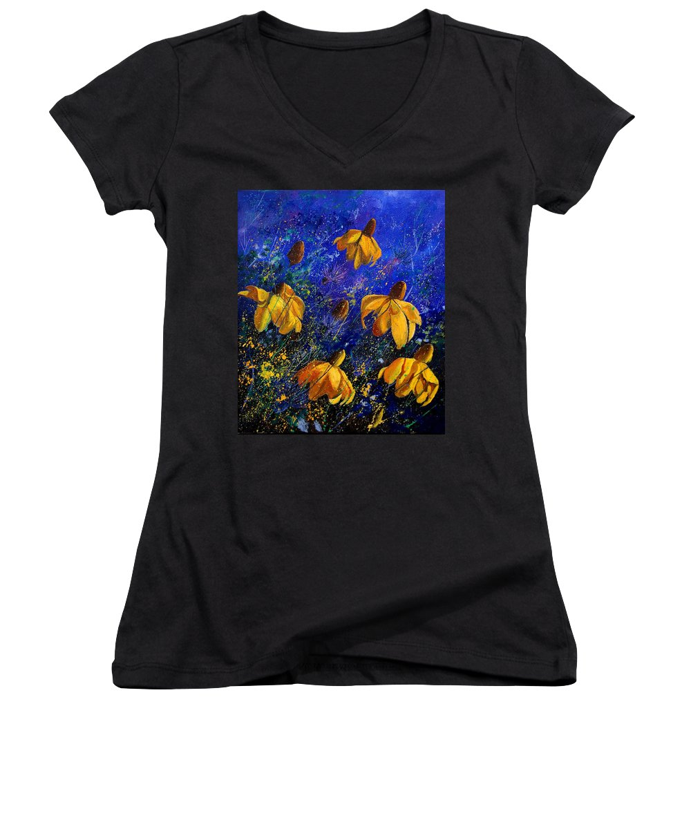 Poppies Women's V-Neck T-Shirt featuring the painting Rudbeckia's by Pol Ledent