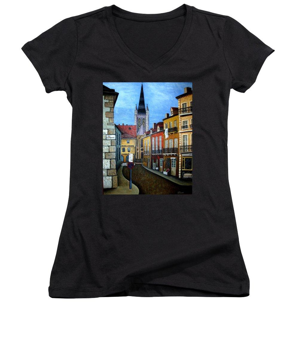 Street Scene Women's V-Neck T-Shirt featuring the painting Rue Lamonnoye In Dijon France by Nancy Mueller