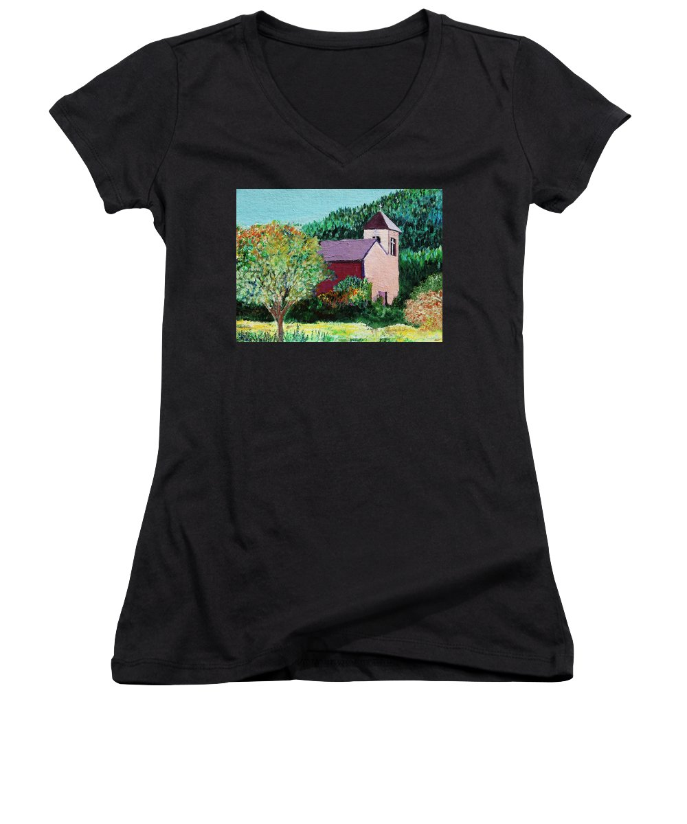 Church Women's V-Neck (Athletic Fit) featuring the painting Ruidoso by Melinda Etzold