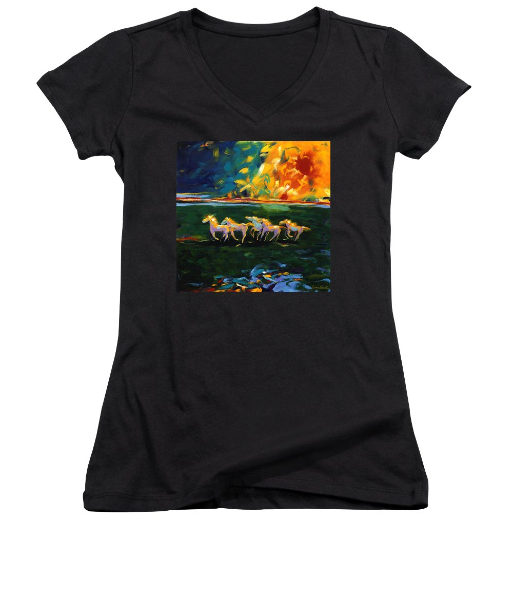 Abstract Horse Women's V-Neck (Athletic Fit) featuring the painting Run From The Sun by Lance Headlee